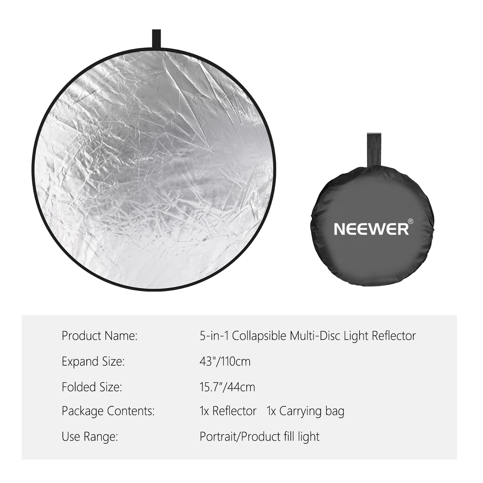 neewer 43 inch 110cm 5 in 1 collapsible multi disc light reflector with bag ebay. Black Bedroom Furniture Sets. Home Design Ideas