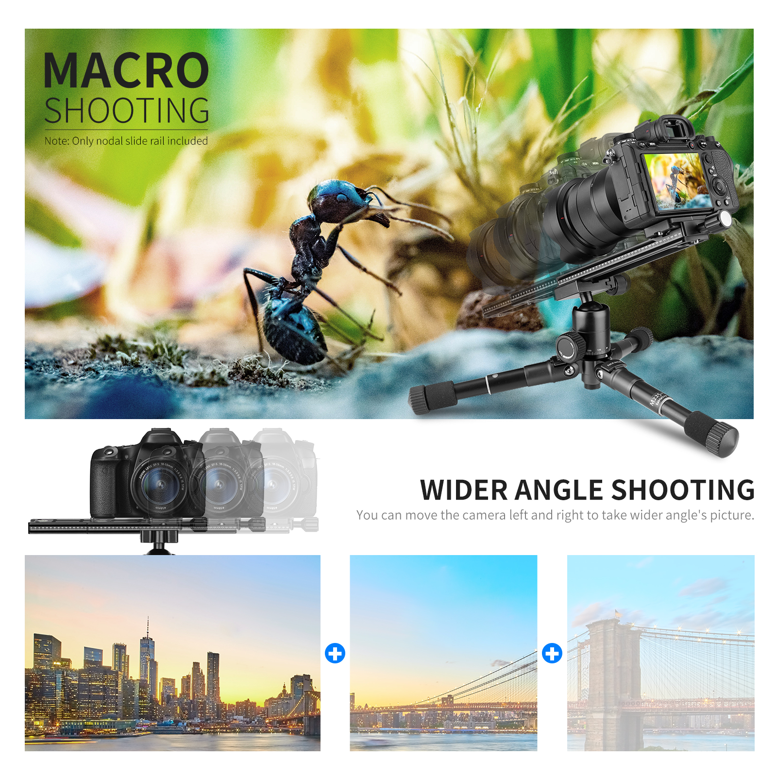 Neewer rail nodal slide quick release clamp arca swiss