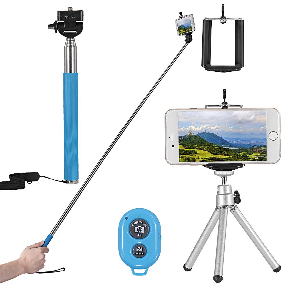 phone selfie kit selfie stick tripod phone holder remote shutter lens set blue ebay. Black Bedroom Furniture Sets. Home Design Ideas