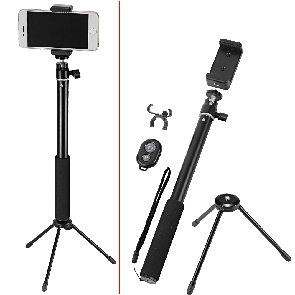 neewer monopod selfie stick with mini tripod stand wireless remote control. Black Bedroom Furniture Sets. Home Design Ideas