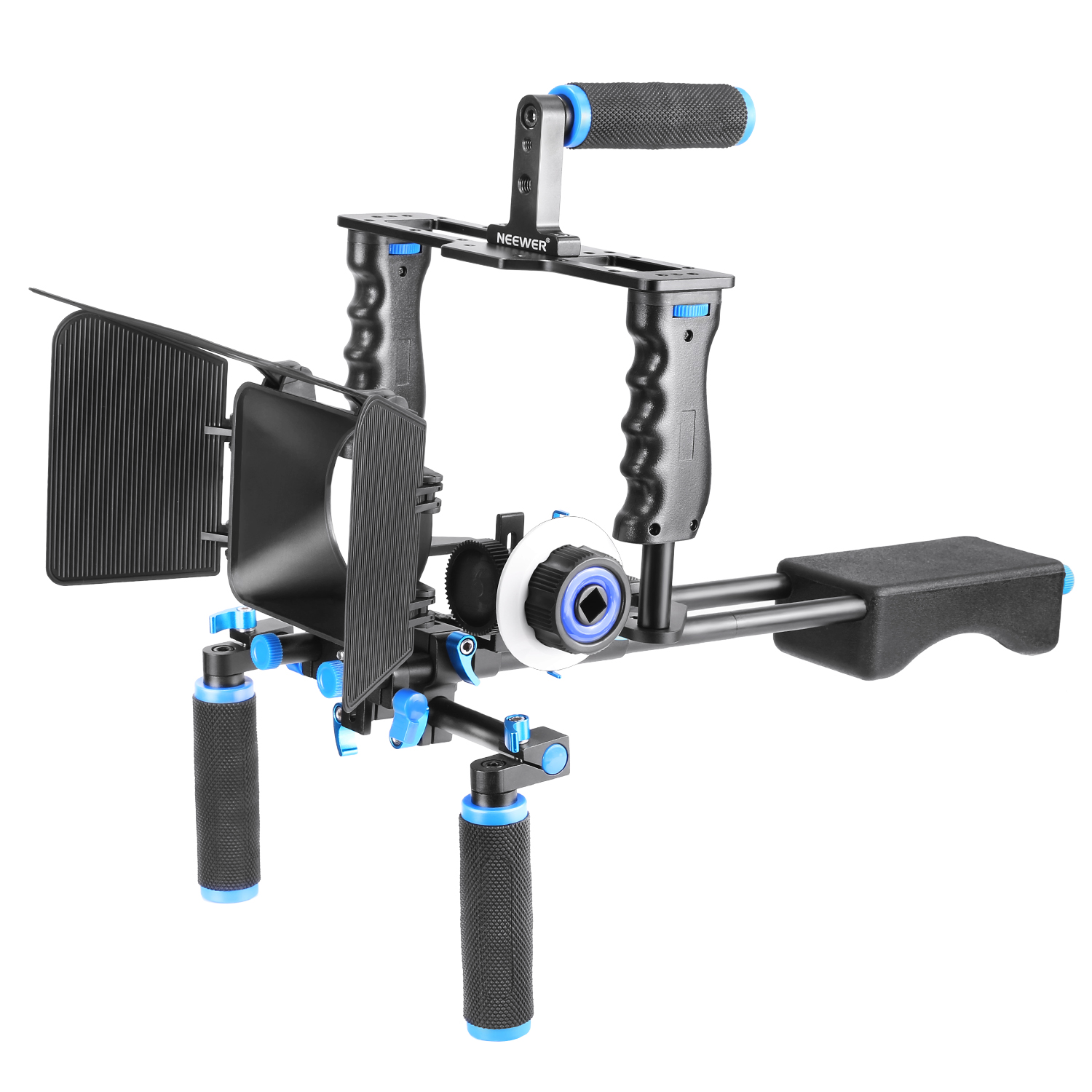 Neewer® Aluminum Film Movie Kit System Rig for Canon/Nikon/Pentax/Sony and other DSLR Cameras,includes:(1)Video Cage+(1)Top Handle Grip+(2)15mm Rod+(1)Matte Box+(1)Follow Focus+(1)Shoulder Rig Image