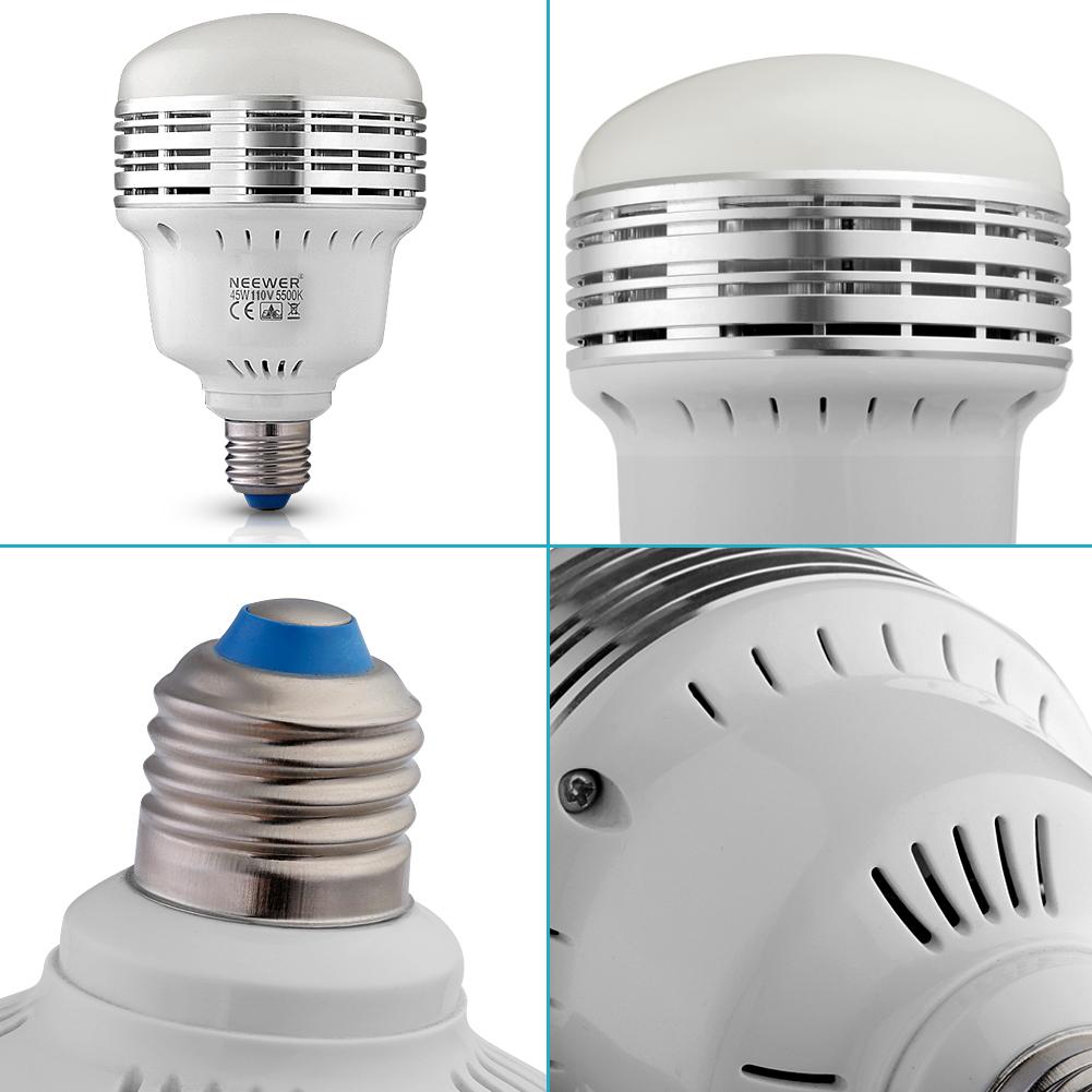 Daylight Balanced Led Studio Light: Neewer 45W 5500K LED Daylight Balanced Bulb Lamp F