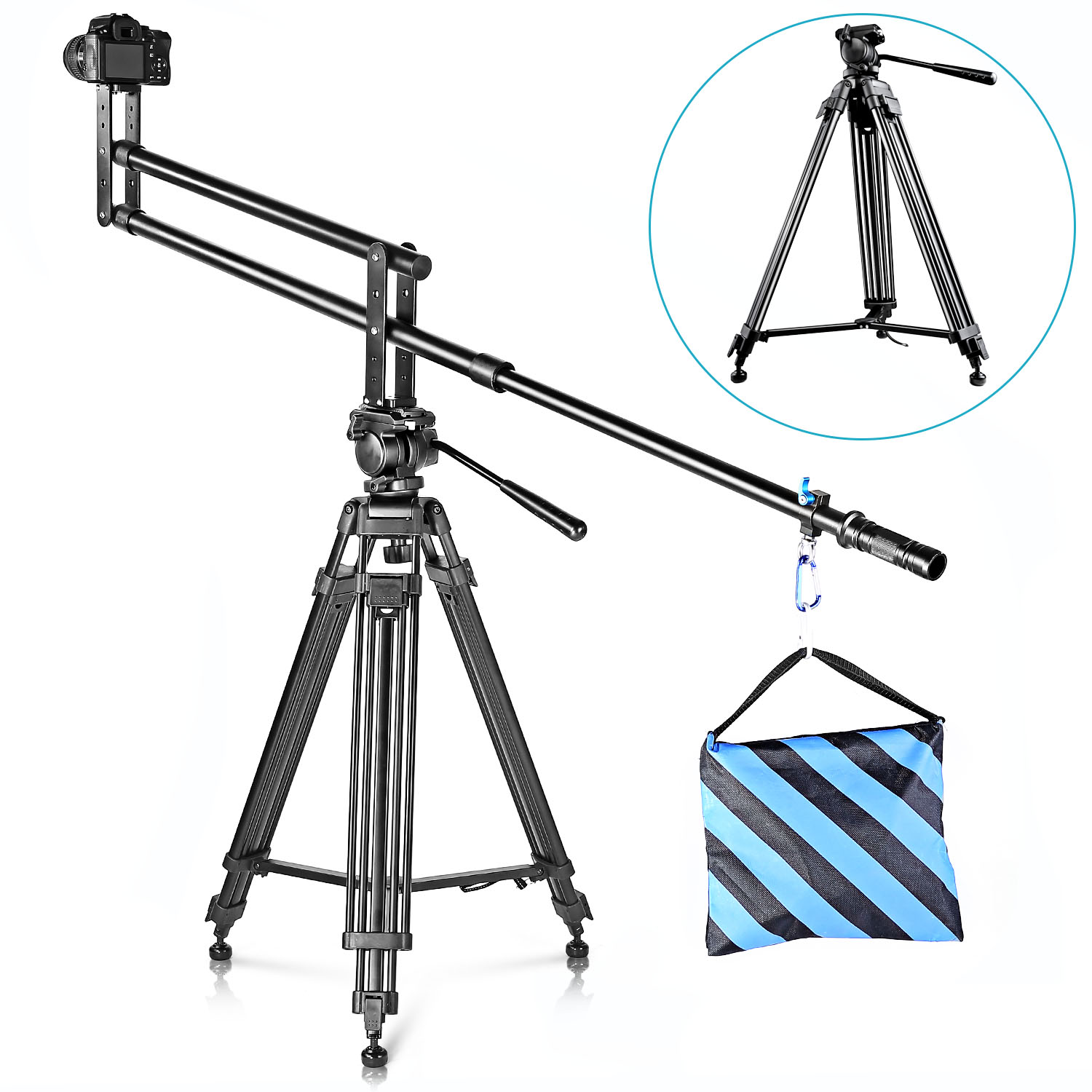 neewer 59 quot 150cm aluminum tripod with 360 degree pan for camcorder ebay