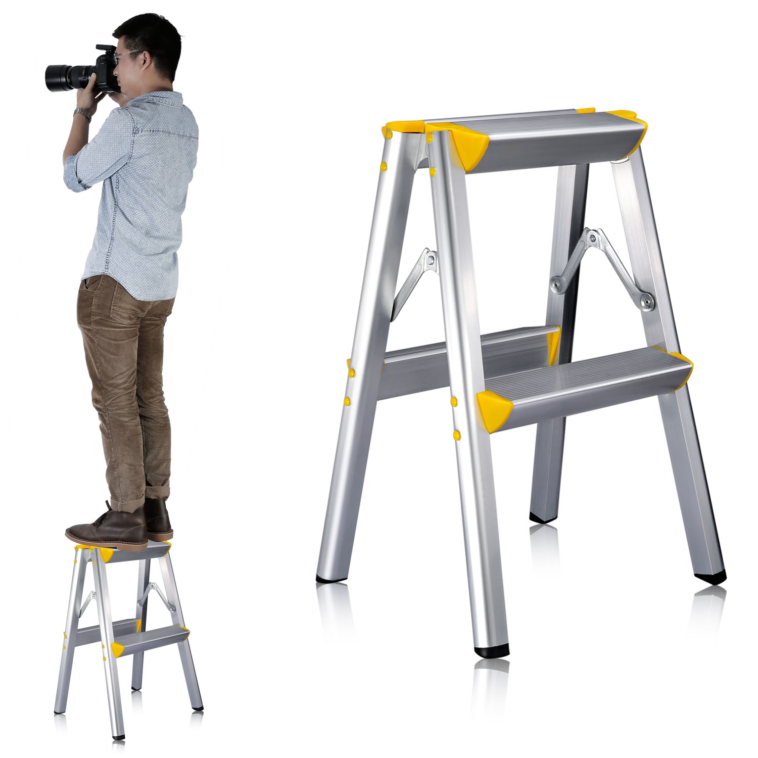 Neewer 20 Quot 52cm Aluminum Alloy Two Step Ladder Stool Ebay