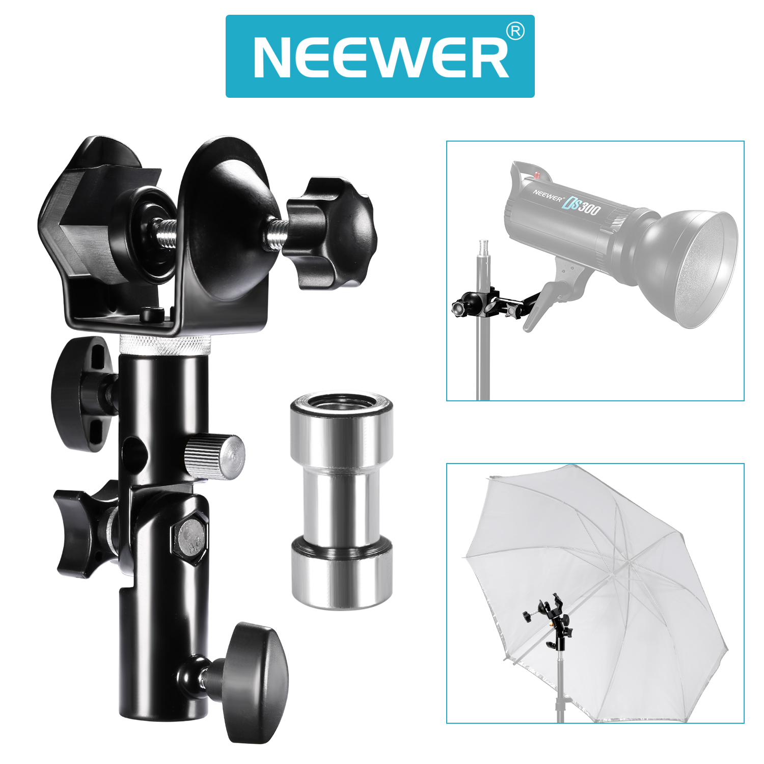 Neewer u clamp clip mount and bracket short adapter