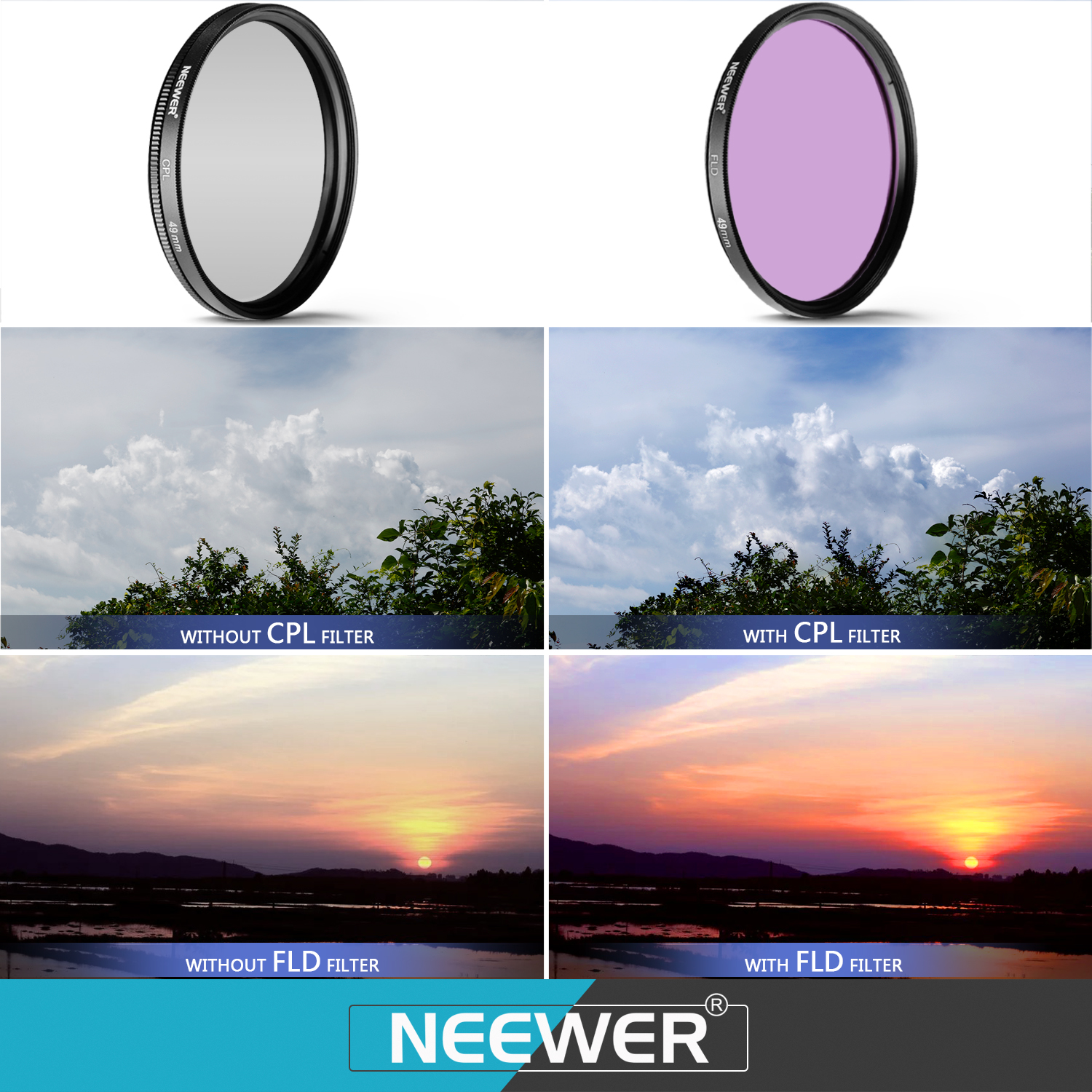 neewer 49mm professional uv cpl fld lens filter and close