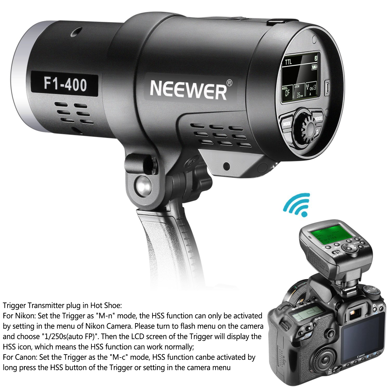 Neewer 400W 2.4G HSS Dual TTL(i TTL And E TTL) Outdoor Flash Strobe Light  For Canon And Nikon Camera, With 2.4G Wireless Trigger And Rechargeable  Li Ion ...