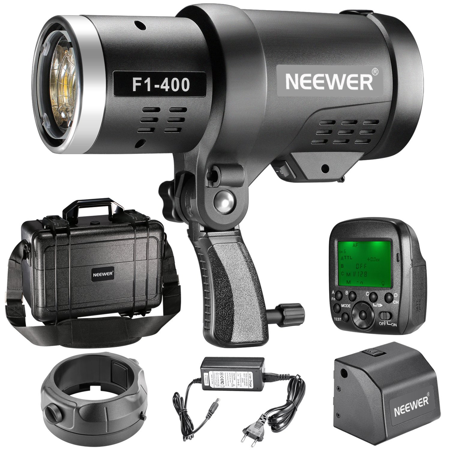 Neewer Dual TTL Outdoor Flash Strobe Light for Canon Nikon DSLR Camera,with 2.4G Wireless Trigger+3200mAh Rechargeable Battery to Provide 350 Full Power Flash Recycle in 0.1-2.5s Bowens Mount F1-400 Image