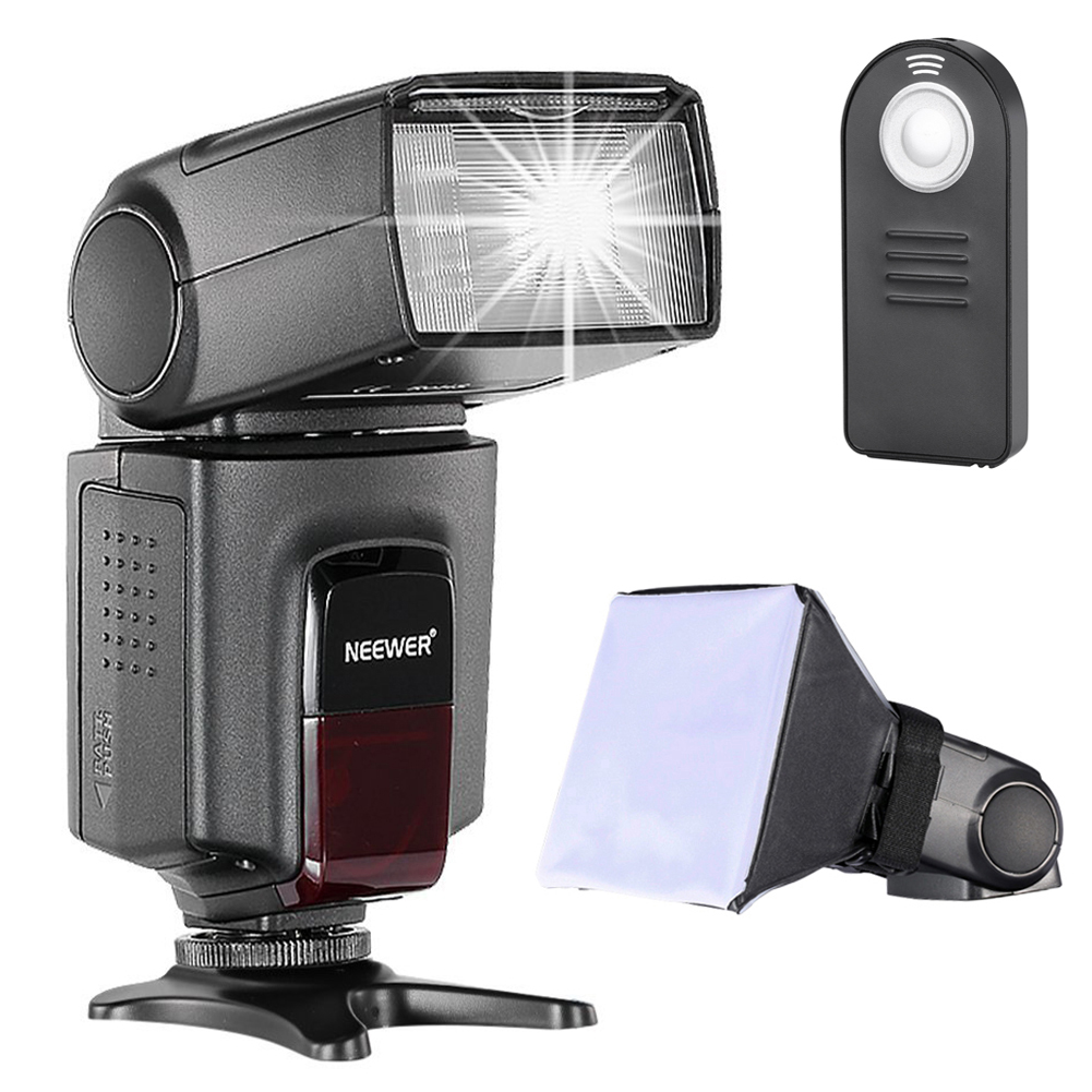 Neewer TT560 Speedlite Flash Kit for Canon Nikon Sony Pentax DSLR Camera with Standard Hot Shoe,Includes: (1)TT560 Flash + (1)Flash Diffuser + (1)Remote Control Image