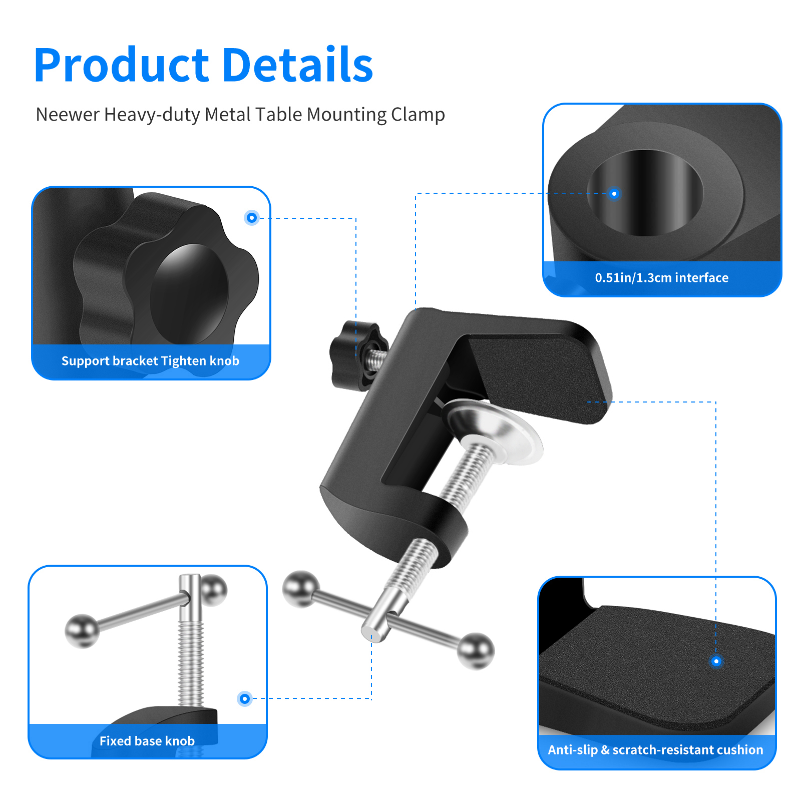 Neewer table mounting clamp for microphone suspension boom for Suspension metal