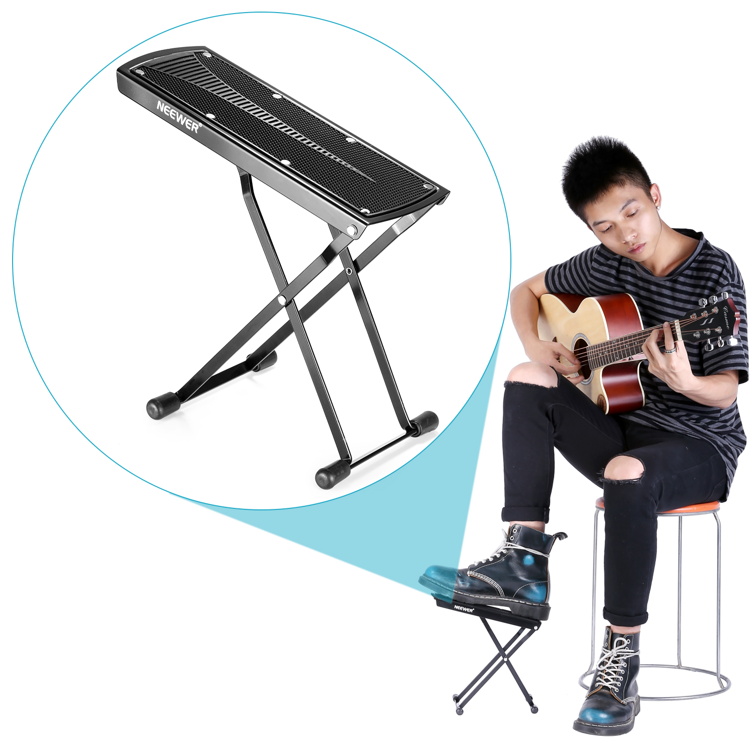 neewer extra sturdy guitar foot rest provides six adjusted height positions ebay. Black Bedroom Furniture Sets. Home Design Ideas