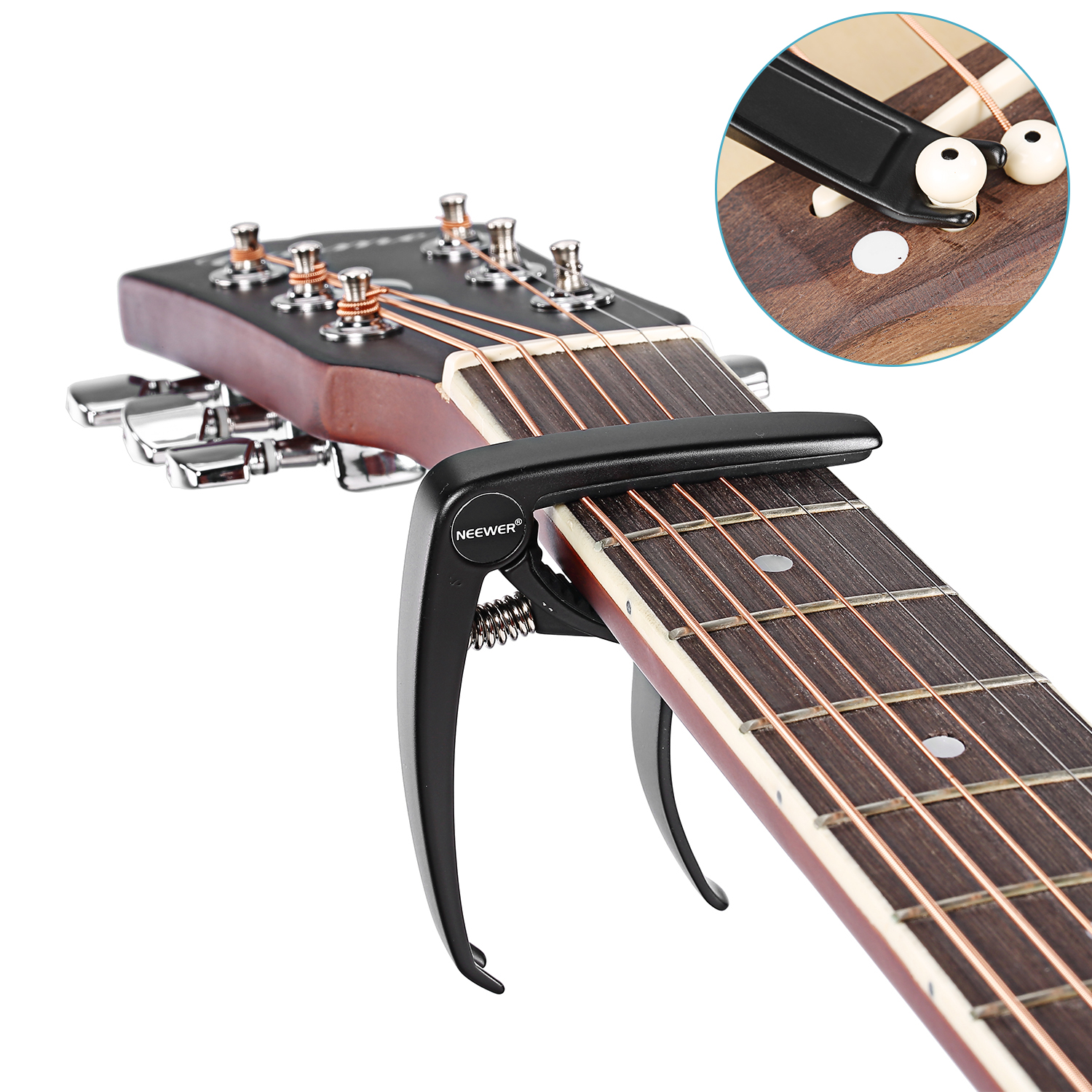 neewer guitar capo with bridge pin puller for acoustic and electric guitar ebay. Black Bedroom Furniture Sets. Home Design Ideas