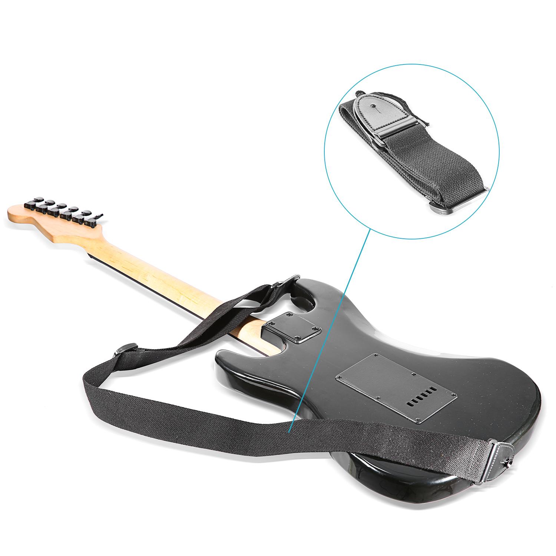 neewer black length adjustable 2 inch width guitar strap with leather ends ebay. Black Bedroom Furniture Sets. Home Design Ideas
