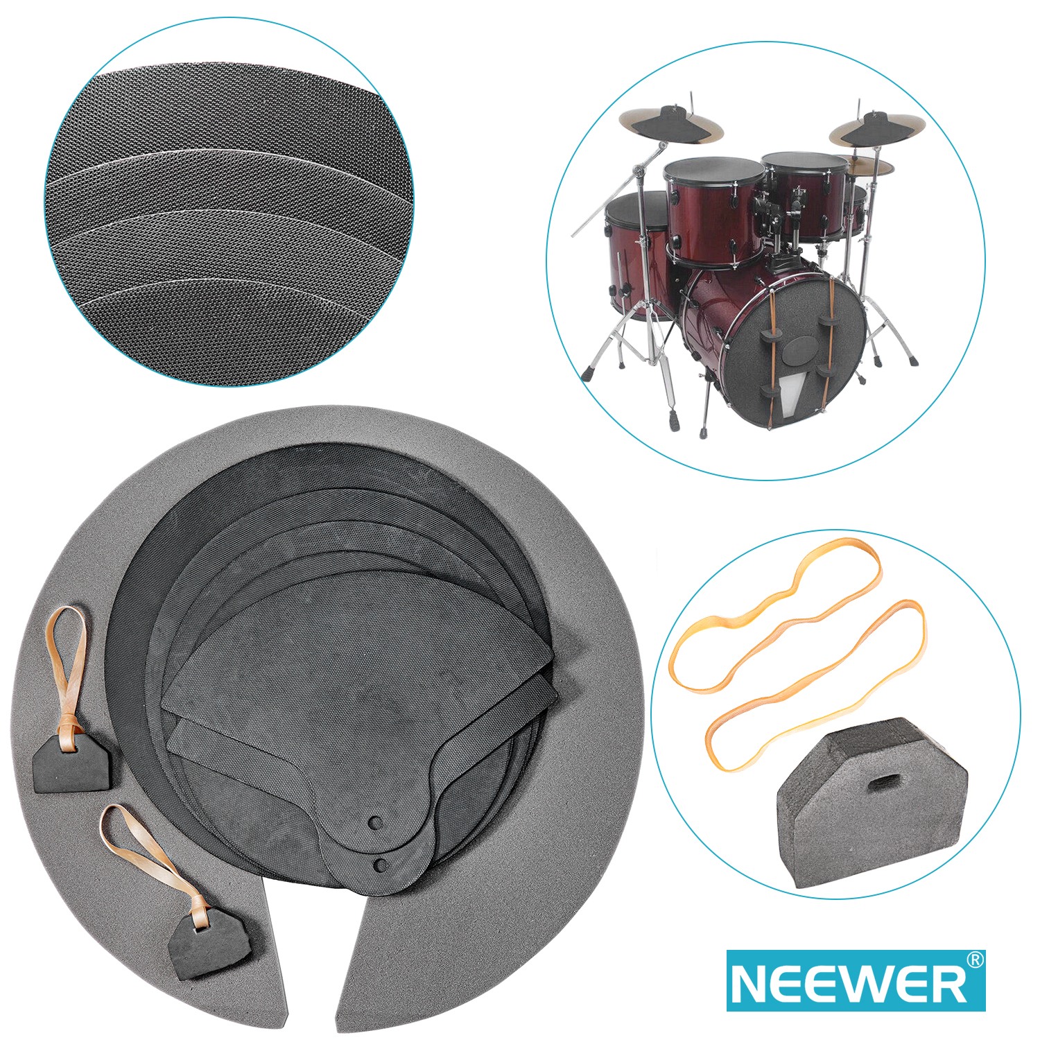 neewer 9 piece foam rubber drum and cymbal practice mute pad set. Black Bedroom Furniture Sets. Home Design Ideas