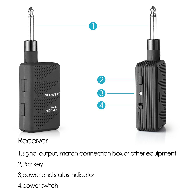 Wireless Transmitters And Receivers: Neewer Black 2.4GHZ Audio Wireless Digital Guitar