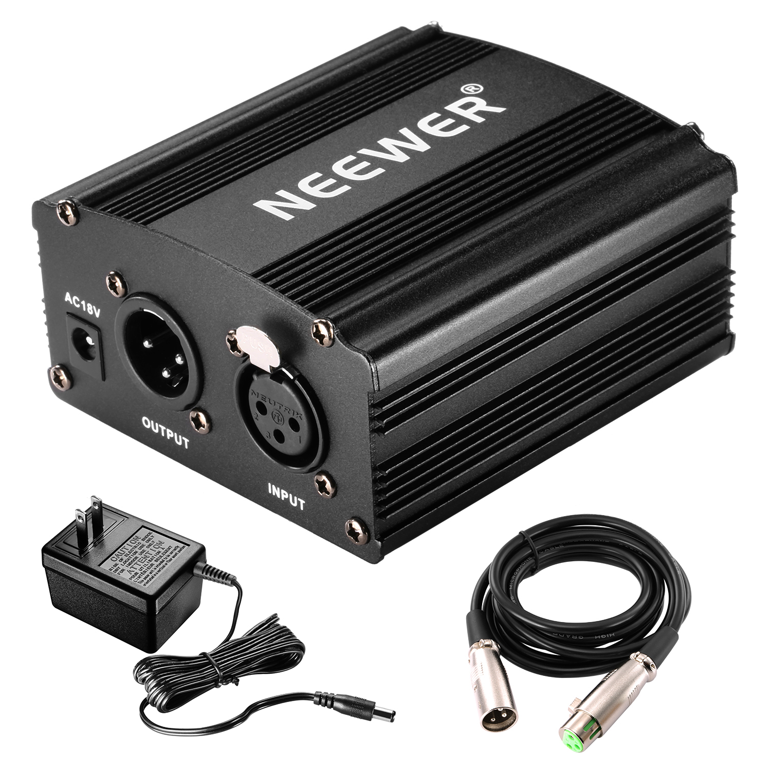 neewer 48v phantom power supply black with adapter and one xlr audio cable ebay. Black Bedroom Furniture Sets. Home Design Ideas
