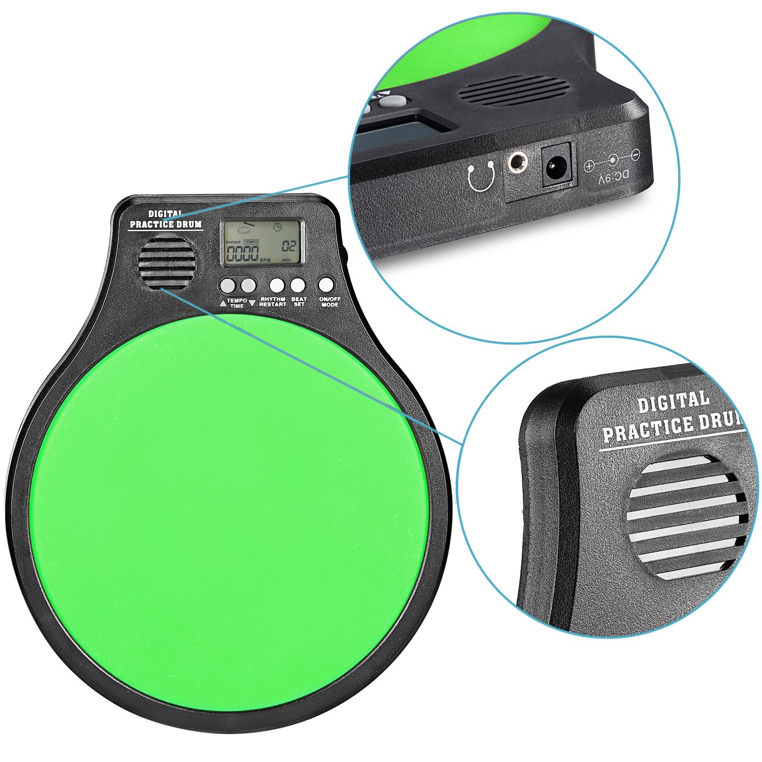 neewer 3 in 1 drum practice pad metronome drummer training pad green. Black Bedroom Furniture Sets. Home Design Ideas