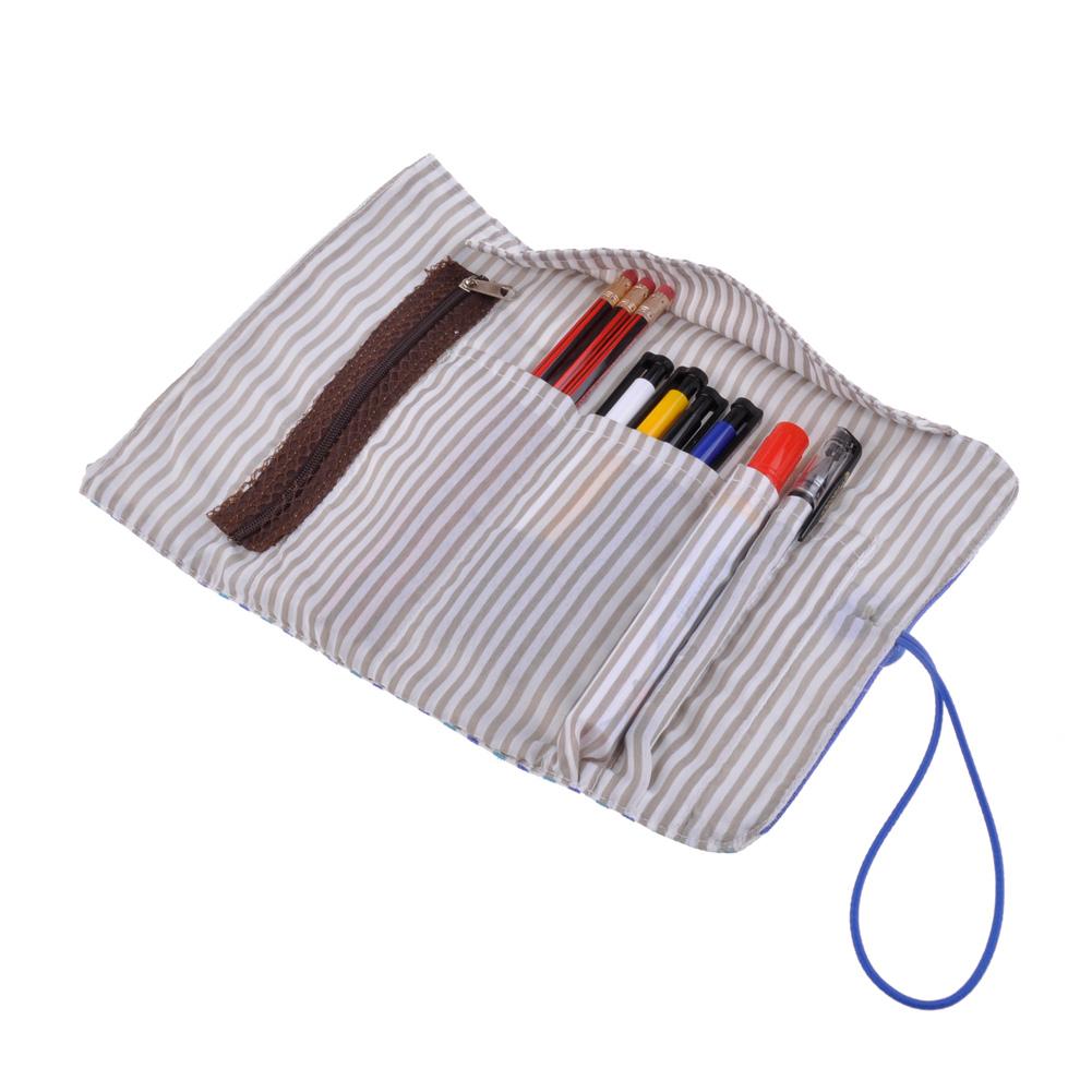 Durable Striped Wrap Roll Up Canvas Pen Pencil Case Bag ...