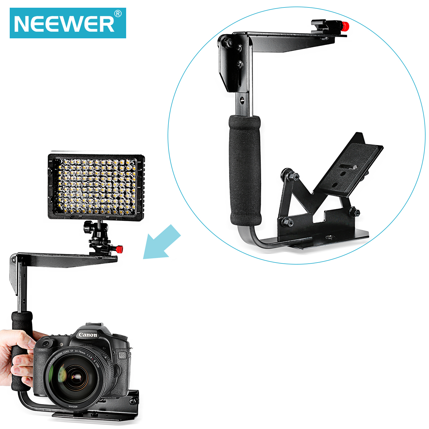 Pentax Olympus /& More Cameras /& Camcorders Nikon Canon Pro Series 180/° Quick Flip Rotating Flash Bracket For Sony