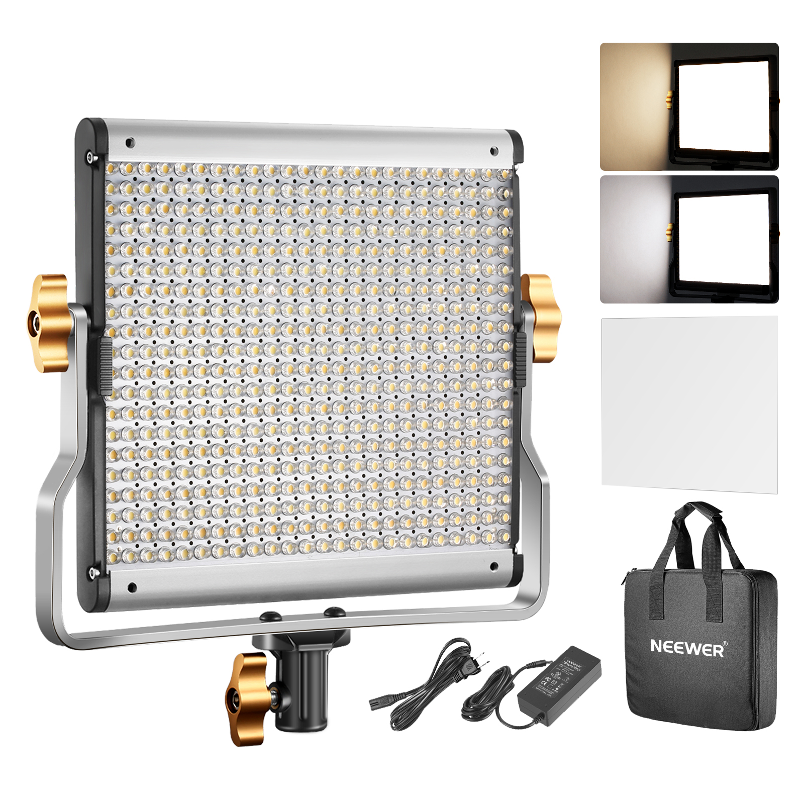 Details About Neewer Dimmable Bi Color Led Video Light Panel With U Bracket Support And Bag