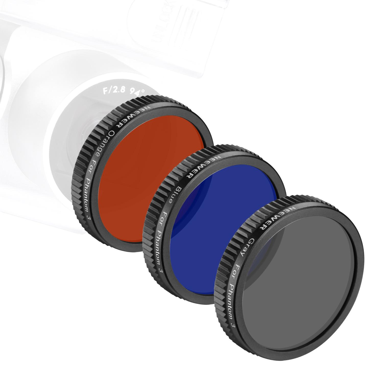 Full Color Lens Filter Set 3 Pieces: Full Grey Filter Not for DJI Phantom 3 Standard Full Orange Filter and Full Blue Filter DJI Phantom 3 Professional and Advanced Neewer for DJI Phantom 4