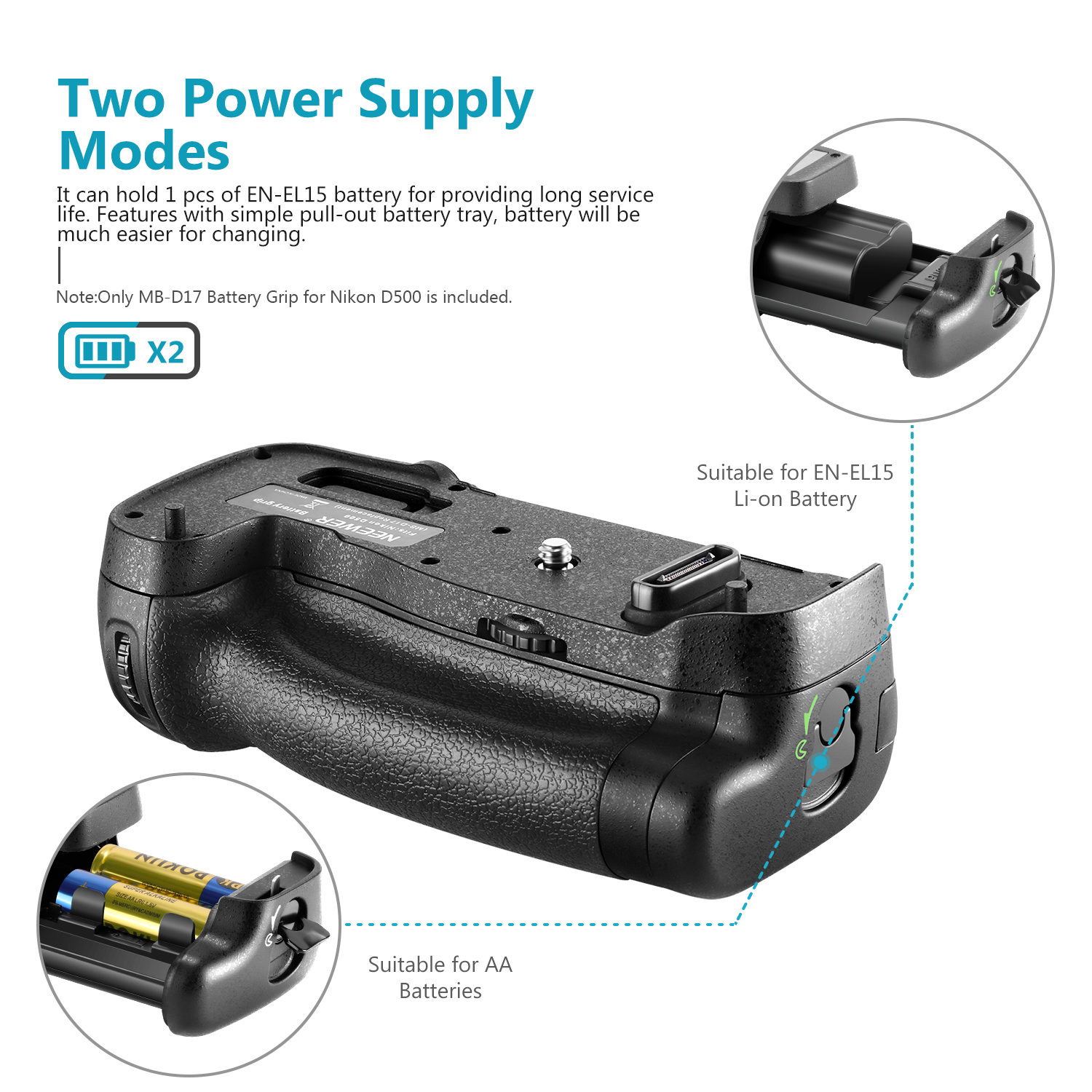 Neewer MB-D17 Replacement Battery Grip Work with 1 Piece EN-EL15 Battery or 8 Pieces AA Batteries for Nikon D500 Camera Black