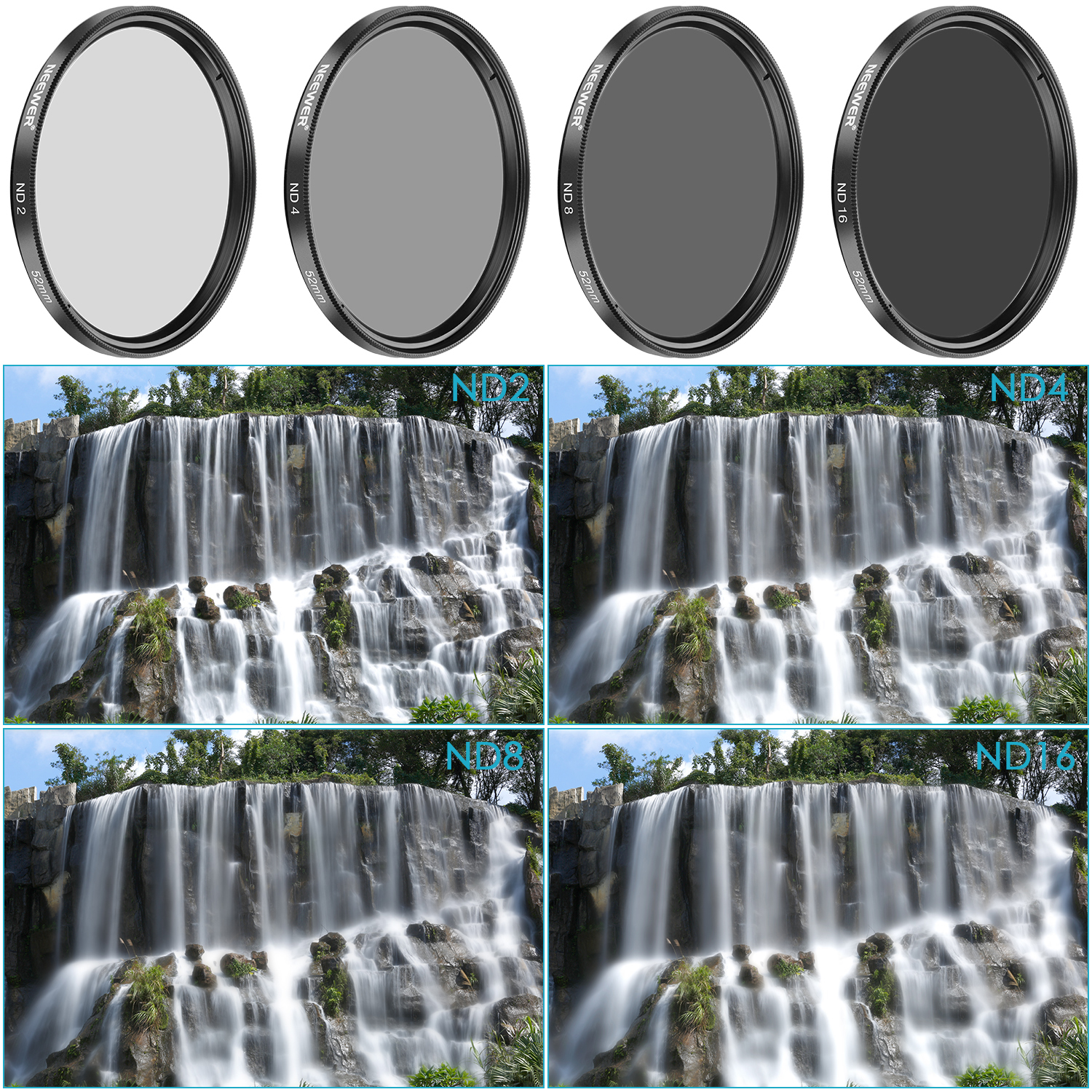 Neewer 52mm Neutral Density Nd2 Nd4 Nd8 Nd16 Filter And