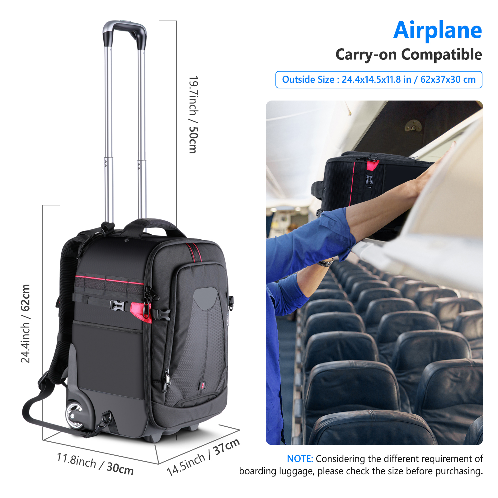 Neewer 2-in-1 Rolling Camera Backpack Trolley Case for