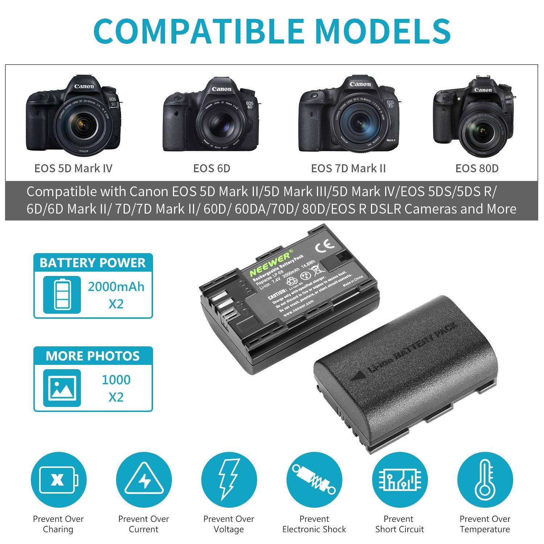 Cámara SLR apto Para Canon EOS 6D Digital LP-E6 más reciente BG-E13 Batería Grip