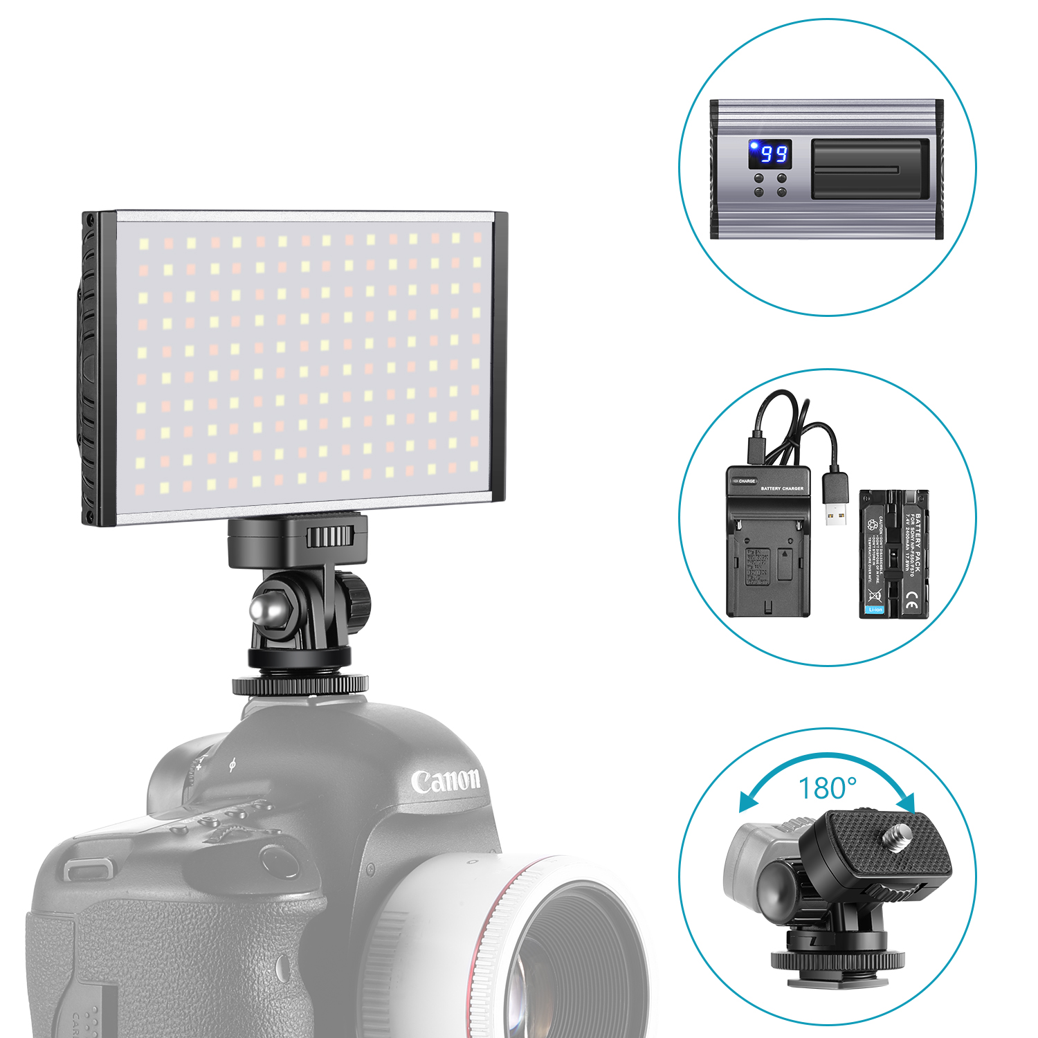 Neewer LED Video Light Panel Camera//Camcorder Video Fill Lighting with Cold Shoe Adapter//Battery//Charger Ultra Thin Anodized Aluminum Housing for All DSLR Cameras 160 SMD LEDs Bi-Color 3200K-5600K
