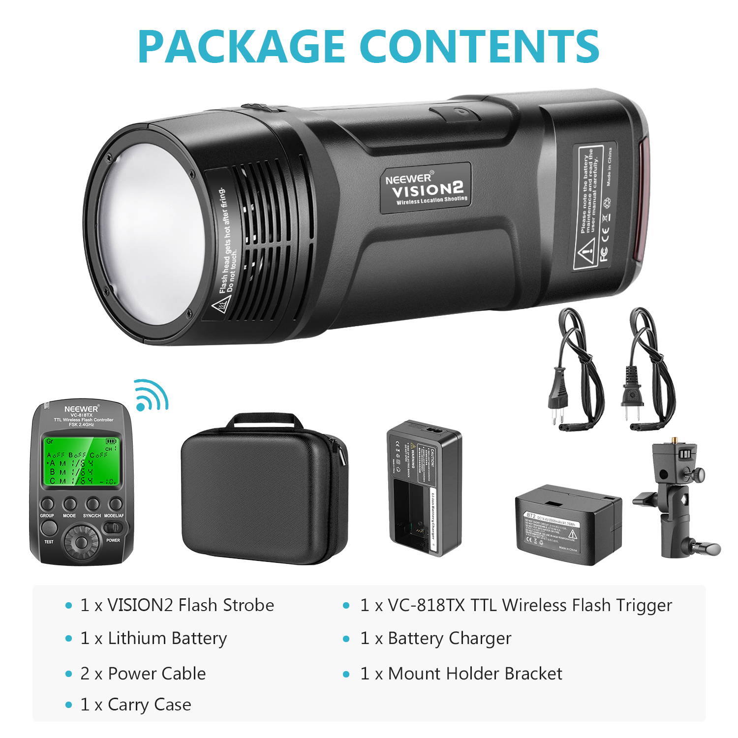 Neewer VISION2 200Ws 2.4G TTL Flash Strobe Compatible with Nikon DSLR Cameras 1//8000 HSS Pocket Monolight with Wireless Trigger 2900mAh Battery to Cover 500 Full Power Shots Recycle in 0.01-1.8 Sec