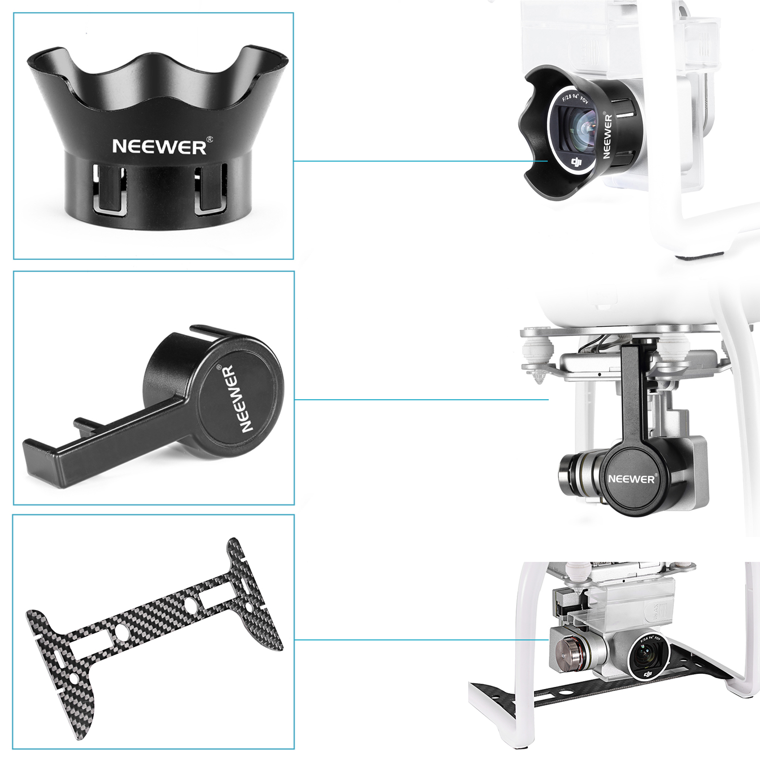 Details about Neewer Gimbal Guard + Camera Lens Cap for DJI Phantom 3  Professional Advanced