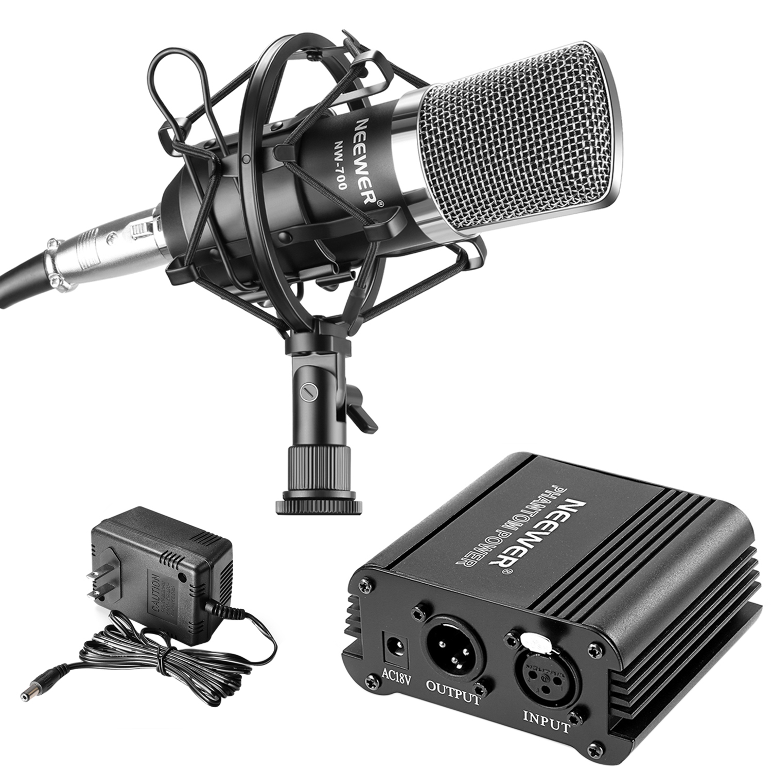Neewer Nw 700 Studio Condenser Microphone Set With 48v Phantom Power Xlr Cable Wiring Kit 1nw 148v Powe 1power Adapter 1xlr Audio 1shock