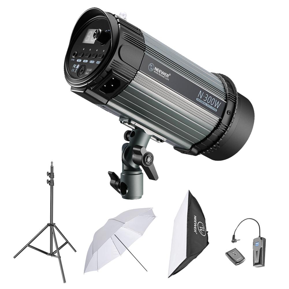 Neewer 600W Studio Strobe Flash Photography Lighting Kit: 2 RT-16 Wireless Trigger, 2 300W Monolight, Softbox, 1 33 inches Translucent Umbrella for Video Portrait Location Shooting 2 N-300W